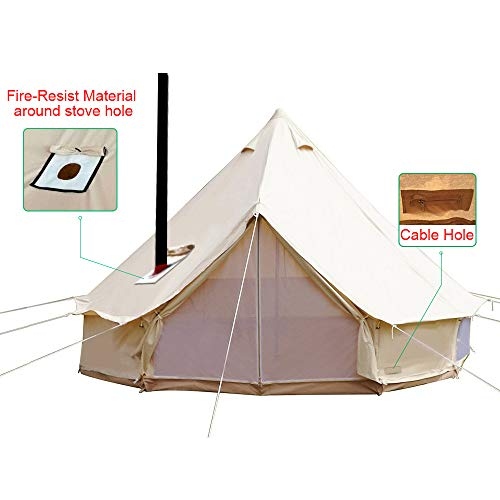 Sporttent Camping 4 Season Waterproof Cotton Canvas Bell Tent with Stove Hole and Cable Hole