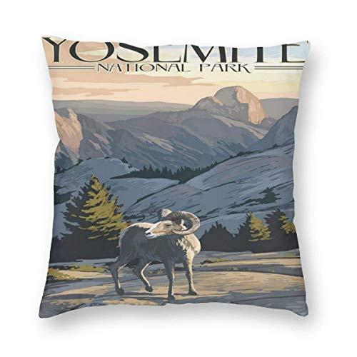 Sweet grape Funda de almohada cuadrada Yosemite National Park California Big Horn Ovejas Cojines Fundas con cremallera para sofá de 18 pulgadas x 18 pulgadas