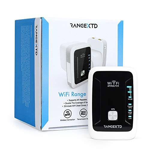 RANGEXTD WLAN Verstärker WiFi Repeater - Internet Verstärker für mehr WLAN-Reichweite   WLAN Repeater für bis zu 10 Geräte   Geschwindigkeit 300 Mbps   2.4 GHz WLAN - Repeater