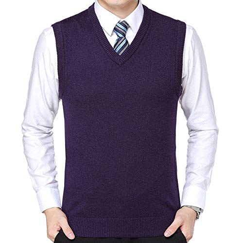 Sweater Vest Men V Neck Sleeveless Pullovers Solid Color Sweaters Waistcoat,Purple,XXL
