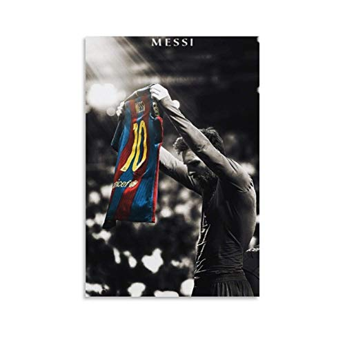 CHAOZHE Póster de deportistas de fútbol Messi Jersey King of Barcelona, cuadro decorativo lienzo para pared, sala de estar, dormitorio, 30 x 45 cm