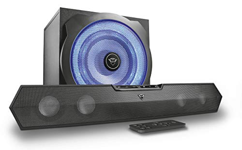 Trust Gaming GXT 668 Tytan 2.1 Soundbar Speaker System with Subwoofer for PC, PS4 and Xbox One, LED Illuminated, 120 W, UK Plug - Black/Blue