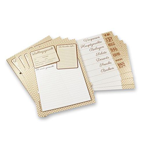 Luminick 40 Rezeptkarten & 9 Registerkarten DIN A5 im Set, mit Register, zum Selbstschreiben, Dickes und hochwertiges Papier, Hochzeitsspiel, Nachfüllpack, gelocht
