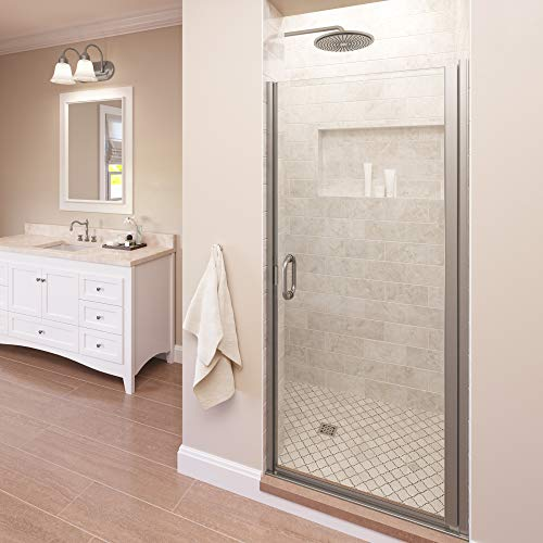 Best Deals! Basco Infinity 33- 34 in Width, Semi-Frameless Shower Door, Clear Glass, Brushed Nickel ...