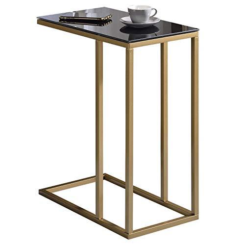 IDIMEX Beistelltisch Wohnzimmertisch Couchtisch BELGRAD rechteckig, Metallgestell in Gold, Glasplatte schwarz, im Retro Stil