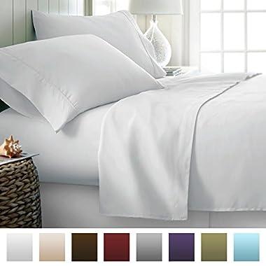 Beckham Hotel Collection Luxury Soft Brushed 2100 Series Microfiber Sheet Set - Hypoallergenic - King - White