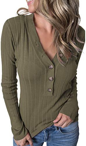 MEROKEETY Women s Long Sleeve V Neck Ribbed Button Knit Sweater Solid Color Tops Olive product image