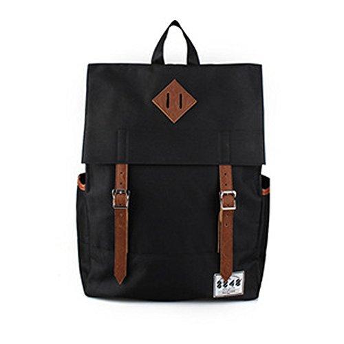 YAAGLE Rucksack Damen und Herren Unisex schick mit Deckel Schultertasche Schulrucksack Laptoptasche-schwarz