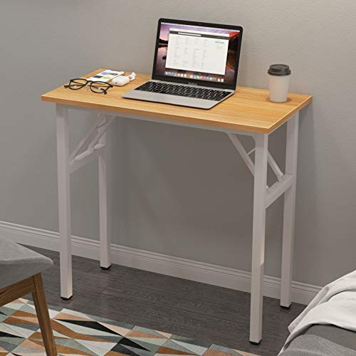 sogesfurniture Mesa Escritorio Plegable, 80x40 cm Escritorio Compacto Mesa de Ordenador Mesa de Estudio Mesa de Trabajo Plegable para Hogar Oficina, Picnic, Teca&Blanco BHEU-LP-AC5YW-8040