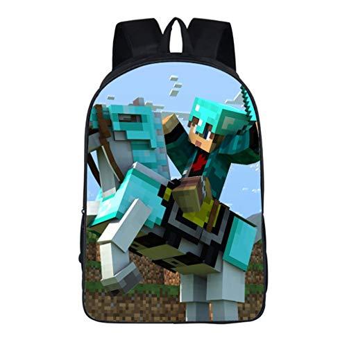 LLYDIANMochila Junior para Niños 3D Minecraft primaria y secundaria de descompresión y la caja de lápiz de la carga de Reducción de Bolsas Escuela Mochila almuerzo bolsa de mensajero de gran capacidad