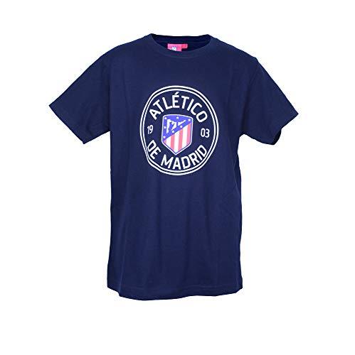 Atlético de Madrid Camiseta Print - Nuevo Escudo (Azul Marino, 12 años)