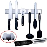 Na Cuisine Porte-Couteaux Magnétique 40 cm - avec 3 Crochets pour Ranger des Ustensiles en Plastique ou Silicone – Double Possibilité de Fixation au Mur par ADHESIF ou VIS - Barre Aimantée