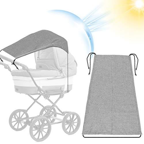 Toldo Silla De Paseo, Parasol Cochecito Bebe, Toldo Cochecitos, Toldo silla paseo, Toldo Protección Solar Universal, para Cochecitos Capazos ajustable Protección Solar UV 50+, Gris