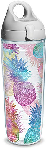 Tervis Watercolor Pineapple Wrap Clear Inner Water Bottle with Grey Lid, 24 oz -