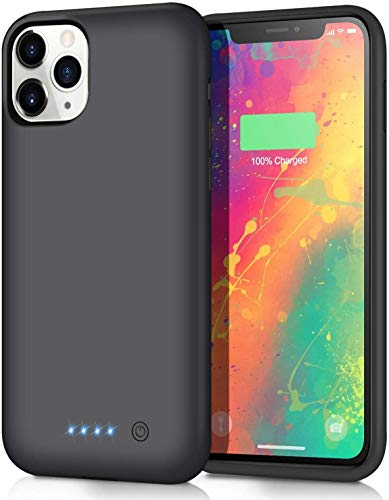 QTshine Battery Case for iPhone 11 Pro Max, [7800mAh] Protective Portable Charging Case Rechargeable Extended Battery Pack for Apple iPhone 11 Pro Max(6.5 inch) Backup Power Bank Cover - Black