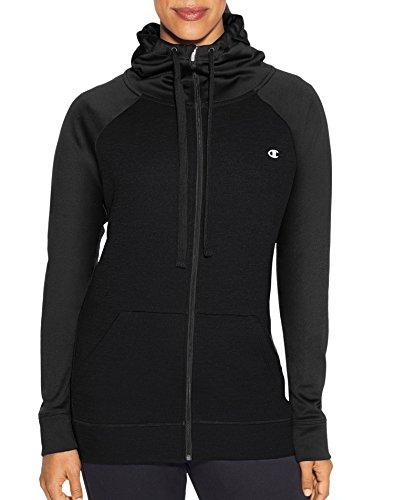 Champion Damen Performance Fleece Full-zip Jacket Fleecejacke, schwarz, Large