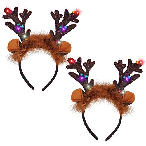 JOYIN 2 diademas de reno iluminadas con LED, diademas de Navidad para suministros de Navidad y fiestas de vacaciones (talla única)