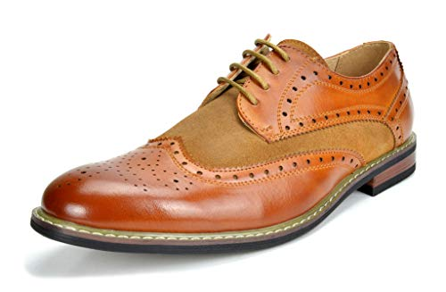 Bruno MARC PRINCE-09 Men's Oxford Modern Classic Brogue Wing-Tip Lace Up Leather Lined Perforated Dress Oxfords Shoes Brown Size 12