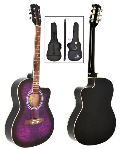 ts-ideen - Guitarra acústica western (4 4, incluye funda acolchada, correa, cuerdas de repuesto y silbato afinador), color negro y lila