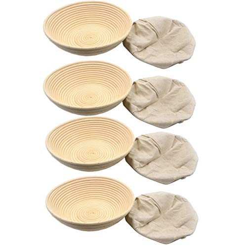 4 Pack 12 inch Round Bread Proofing Baskets Banneton Brotform Baking Tools Accessories Rattan Basket Proofing Proving Rising Cane Baking Bowl with Lining for Baking Dough Starter for Making Artisan