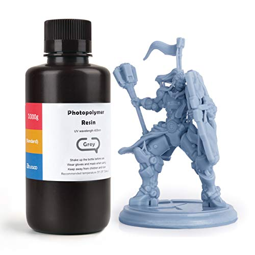 ELEGOO LCD UV 405nm ABS-Like Rapid 3D Resin for LCD 3D Printer 1000g Photopolymer Resin Grey