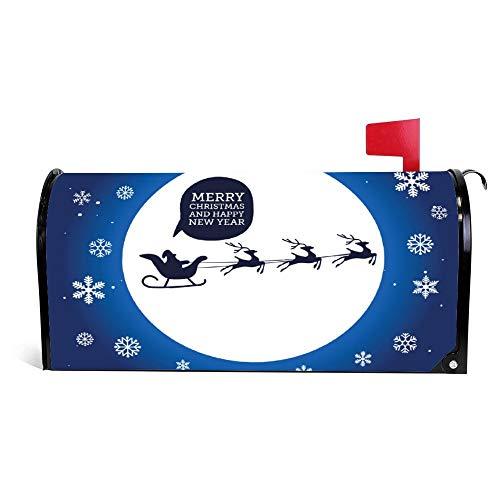 Kerstman In Slee Met Rendier Op Maan Kerstmis Mailbox Cover Magnetische Vinyl Thuis Tuin Decor Mailbox Wikkel Post Brievenbus Cover 18