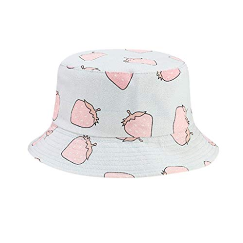 Señora Pamela Sombrero,Verano Niña Sombrero Enrollable Strawberry Impresión Doble Cara Vestir Visera...