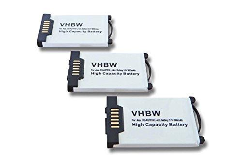 vhbw 3X Akku 800mAh (3.7V) für schnurlos Festnetz Telefon Aastra 600d, 610d, 620d, 630d, DTS11 wie DK512009, 23-001059-00.