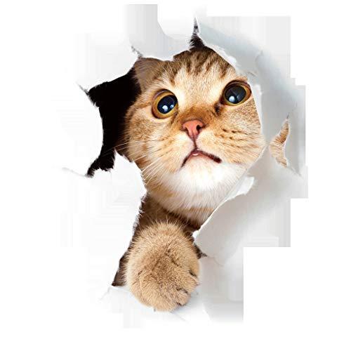 rongweiwang 3D Gatito Lindo Closestool Etiqueta habitación de los niños Etiqueta de la Pared del Gato 3D Deocration Gato de la Historieta imán de la Etiqueta engomada