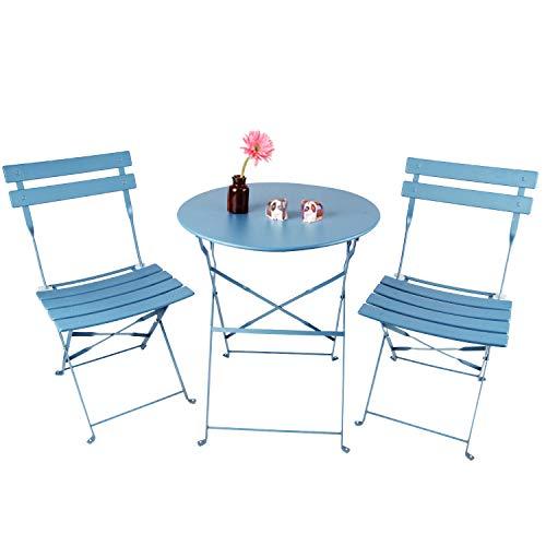 INOVIX Grand Patio Bistro Set Outdoor Metal Patio Bistro Set Foldable Patio Table and Chairs 6 Colors (Blue)