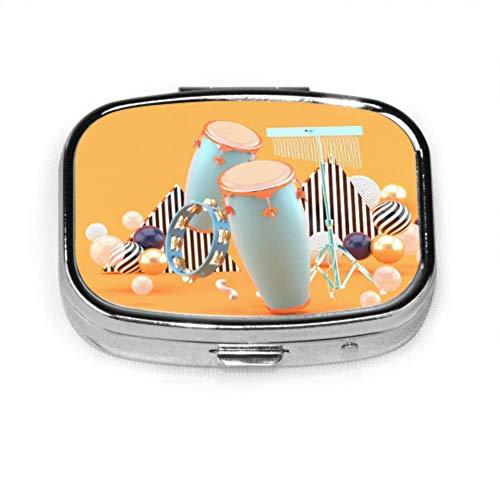 Pastillero Percusión en bolas de colores en naranja Estuche de pastillas lindo Pastilla diaria Portátil para monedero de bolsillo Maletín Caja de pastillas de viaje