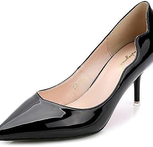 BGYHU Ggx femme Chaussures PU d'été Bout Pointu talons décontracté Chaton Talon Applique Noir bleu gris bordeaux