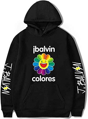 WAWNI J Balvin Sudaderas con capucha para sudaderas con capucha suelta Tops Casual Nuevo Álbum Logo Flor Unisex Suéter Chándal
