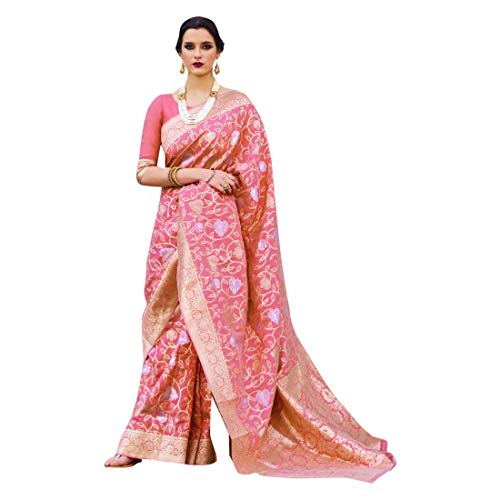 Rosa Suave Hilo de Cristal Tejiendo Telar Mano Seda Mujeres Saree Festival Étnico Musulmán Eid Zari Blusa Sari 9250
