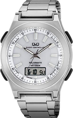 [シチズン Q&Q] 腕時計 アナログ 電波 ソーラー 防水 日付 表示 メタルバンド 白 文字盤 MD10-211 メンズ シルバー