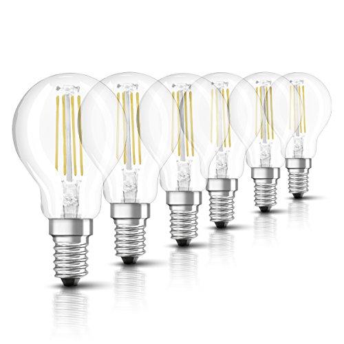 OSRAM Ampoule LED Filament, Forme sphérique, Culot E14, 4W Equivalent 40W, 220-240V, claire, Blanc Chaud 2700K, Lot de 6 pièces