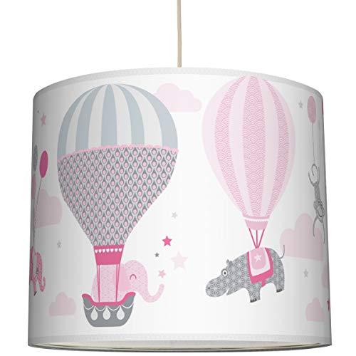 Anna Wand Hängelampe HOT AIR Balloons ROSA/GRAU – Lampenschirm für Kinder/Baby Lampe mit Heißluftballons – Sanftes Kinderzimmer Licht Mädchen & Junge – ø 40 x 34 cm