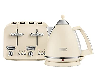 De'Longhi Argento Flora KBX3016 Kettle (3kW) and CTO4 4-Slice Toaster (1800W) (Beige)