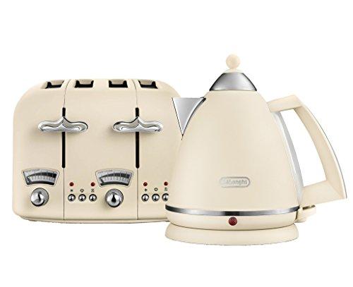 De'Longhi Argento Flora KBX3016 Wasserkocher (3 kW) und CTO4 Toaster mit 4 Schlitzen (1800 W) (Beige)
