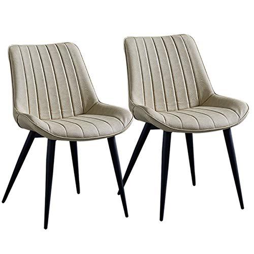 ZYXF Esszimmerstuhl PU Leathe Dining Chairs Set 2 Stück schwarz Metallbeine Küchentheke Stühle Lounge Leisure Room Corner Stühle Rezeption Stühle mit Rückenlehne Sitz (Color : Creamy-White)