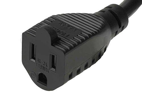 SF Cable 1ft 16/3 AWG Ultra Low Profile NEMA 5-15P Right Angle to NEMA 5-15R Power Cord, Black