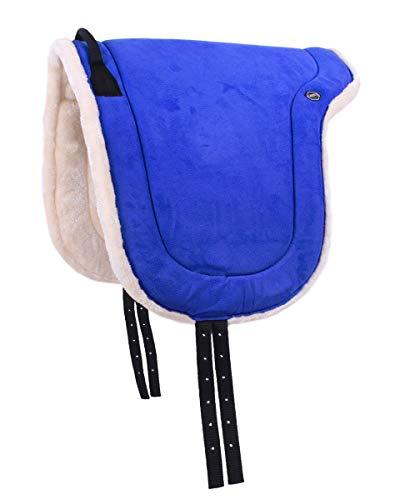 QHP Bareback Pad mit Kunstfell und Haltegriff (Pony, Kobaltblau)