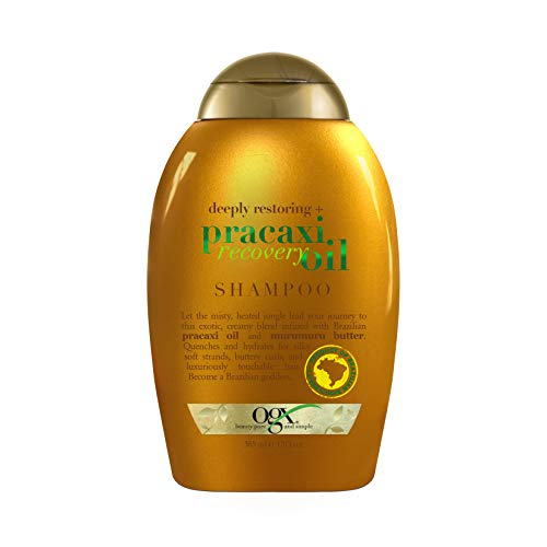 OGX Deeply Restoring + Pracaxi Recovery Oil AntiFrizz Shampoo with Murumuru Butter to Intensely Hydrate Curly Wavy Hair SulfateFree Surfactants for ColorTreated Hair, 13 Fl Oz