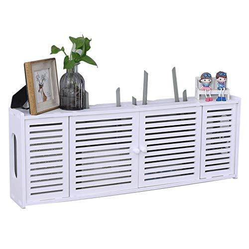 Zapateros Caja de almacenamiento del enrutador Cuadrado blanco de múltiples funciones Estante de pared Estante Artículos for el hogar Sala de estar Dormitorio Almacenamiento Zapatero ( Color : White )