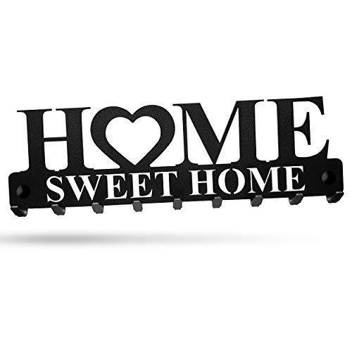 Home Sweet Home   Llavero de pared con 9 ganchos de acero en color negro, soporte de pared para chaquetas, llaves o toallas, material de montaje incluido (negro)