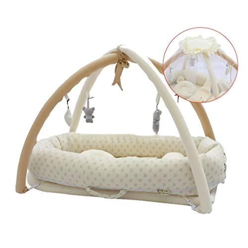 HLR Kinderreisebett Mit Moskito Netto Für Baby Hoch Speicher Bionisch Baumwolle Sleeptight Tragbar (Color : D)