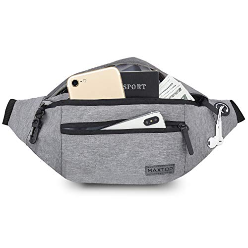 MAXTOP Large Fanny Packs for Women Men Waist Bag with Headphone Jack and 4-Zipper Pockets for Hiking Traveling Outdoors Running Workout Casual Festival Gifts