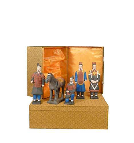 HTdeco - Terre cuite - Set de 5 statuettes - Guerriers de Xian 25 cm
