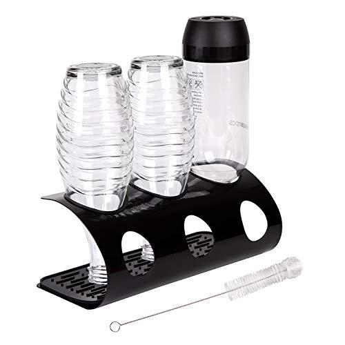 Drinstar SodaStream Flaschenhalter, Abtropfhalter aus Edelstahl, Flaschenständer mit Flaschenbürste & Abtropfmatte, Flaschentrockner für Sodastream Crystal und Emil Flaschen Platz (3er, Schwarz)
