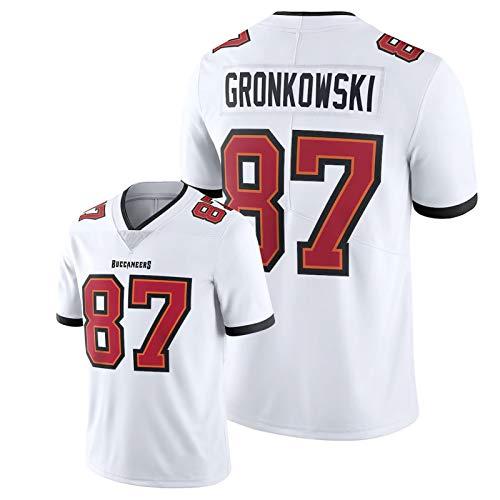 WDGZ Rǒb Gronkowski American Football Hemd,#87 Buccǎneers Herren Rugby Bestickte Fans Kurzarm Vapor Limited Jersey White-XL